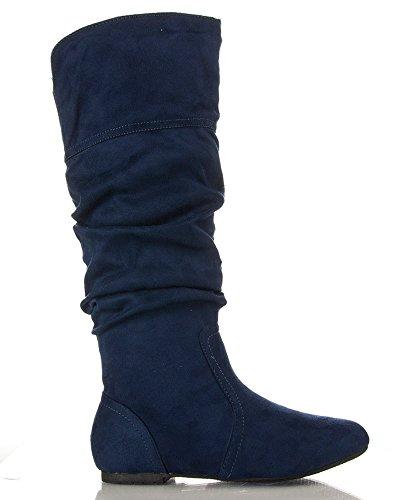 RF ROOM OF FASHION Frauen weiche Vegan Slouchy flach bis niedrige Ferse kniehohe Stiefel - mit versteckter Tasche - mittleres und breites Kalb Navy Wildleder - Mittleres Kalb