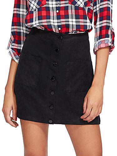 - Verdusa Women's Casual Patch Pocket Button-Up A-Line Suede Short Skirt Black M