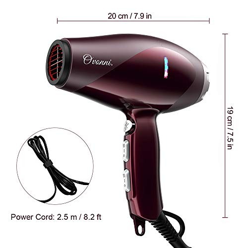 Ovonni Medium Hair Dryer with Diffuser, Pro 1875W Negative Ion Ceramic Tourmaline AC Motor Blow Dryer, 2 Speed/3 Heat Settings Medium Size Hair Dryers with Comb Attachment (Red)