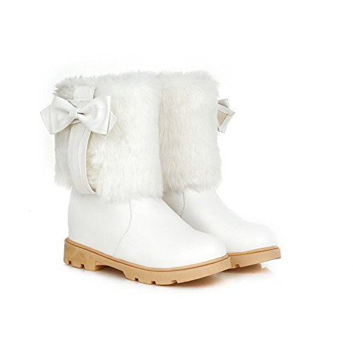 Heighten Ladies Inside Spun amp;N Bowknot Gold Leather White Boots Imitated A OqESw