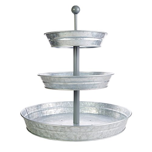 BisonHome 3-Tiered Serving Tray (Large) Rustic, Decorative Galvanized Metal | Home Farmhouse Décor & Display Stand | Coffee, Margarita Bar, Party Appetizers, Cupcake Stand | Indoor, Outdoor Use ()