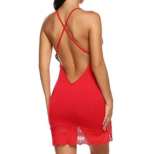 con erotica a da notte Camicia sottoveste scollo donna V V junjie a sexy scollo Sexy Rosso da e PXwdqI