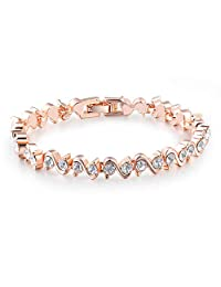 Beauty U❤️Gift for Her❤️ Tennis Bracelet Rose Gold Plated Tennis Bracelet with Cubic Zirconia Stone S Shape Bangle Bracelet for Women Girlfriend Wife Wedding Birthday Gift Jewellery Box Included