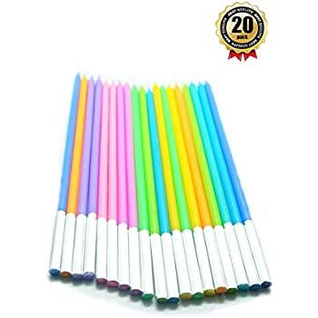 20 Count Party Long Thin Cake Candles Metallic Birthday In Holders For Cakes Decorations