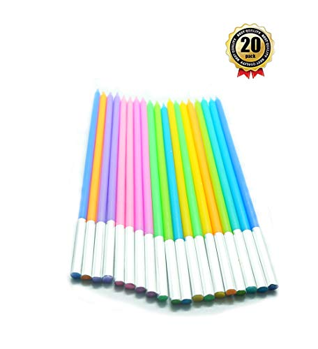 20 Count Party Long Thin Cake Candles Metallic Birthday Candles in Holders for Birthday Cakes Decorations, Rainbow