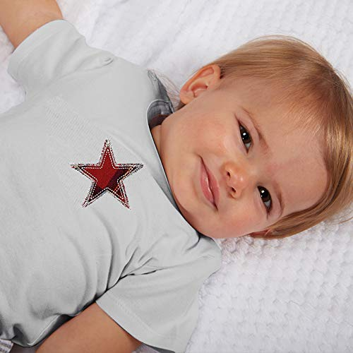 Stephan Baby Snapshirt-Style Diaper Cover, Gray with Red Plaid Star, 6-12 Months