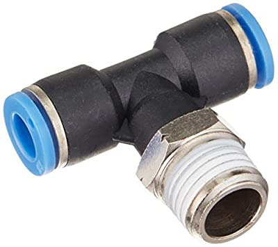 """MettleAir Push to Connect Male T Branch Fitting, 1/4""""OD, 1/4"""""""