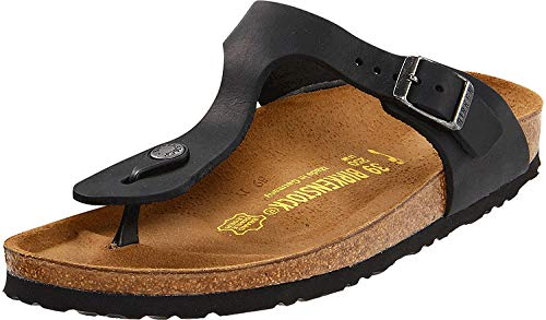 Birkenstock Gizeh Black Oiled Leather Sandal 41 R (US Women's 10-10.5)