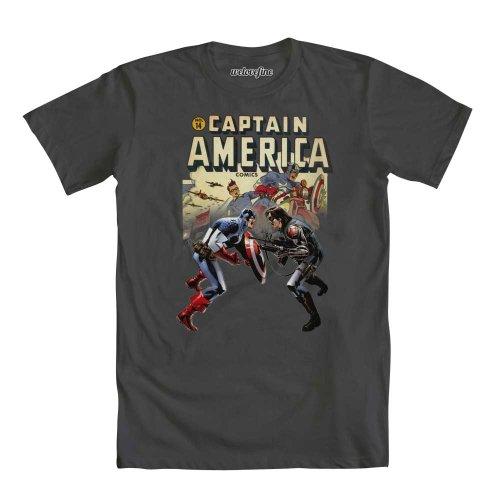 Captain America Cap and Sidekick Comic Book CoverHerren Grau T-Shirt