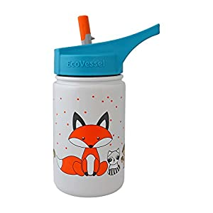 EcoVessel SCOUT Kids Stainless Steel Water Bottle with Flip Straw - 13 ounces - Gray with Fox
