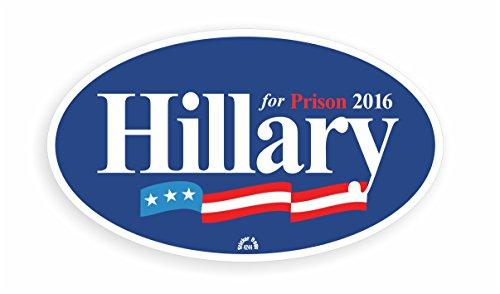 HILLARY FOR PRISON 2016 - Anti Hillary Oval Bumper Sticker