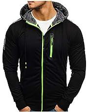 WYTong Men's Full-Zip Casual Hoodies,Drawstring Long-Sleeve Pullover Active Sweatshirt Top