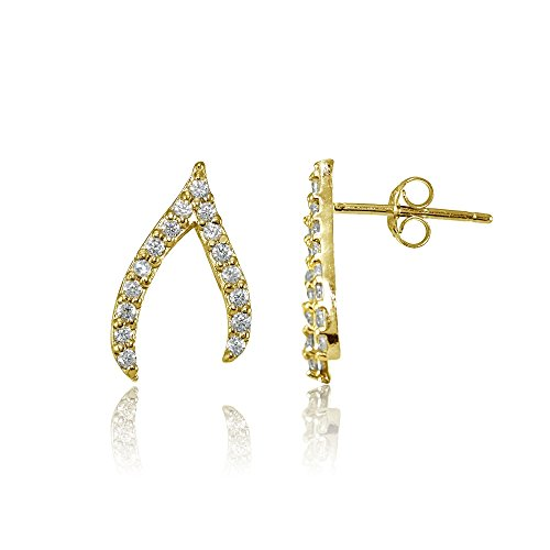 Gold Wishbone Rings (Yellow Gold Flashed Sterling Silver Cubic Zirconia Wishbone Stud Earrings)