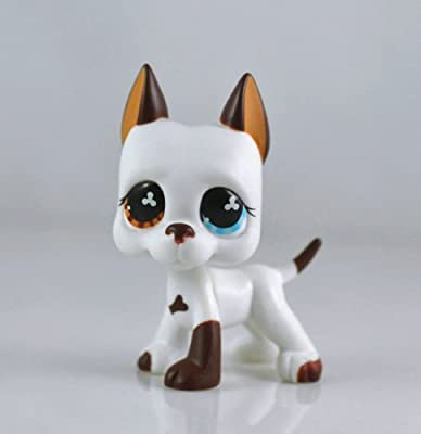 good luck store LPS Littlest Pet Shop White & Brown Great Dane DOG Puppy Blue Eye TOY from Littlest Pet Shop