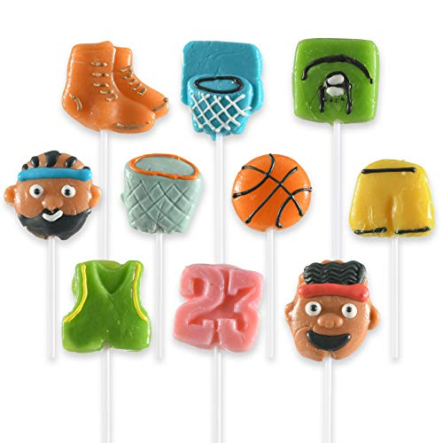10 Basketball Themed Lollipops - Kids Basketball Sports Ball Suckers for Birthday, Sports Events or Basketball Party Favor