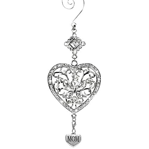 BANBERRY DESIGNS Mom Heart and Butterfly Hanging Ornament - Clear Crystals and Filigree Ornament - Sparkly Silver Christmas Ornament - Mom Gifts