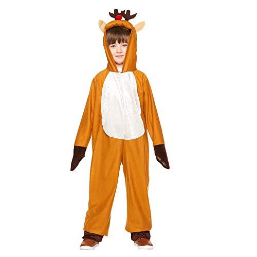 Christmas Reindeer Pajama Costume - Kids Hooded Onesie with Antlers XL -