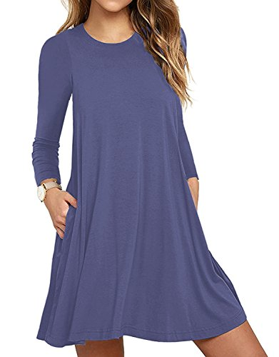 Women's Casual Pockets Crew Neck Long Sleeve Casual Loose Tshirt Dress Tunic Top A25_purple Grey Large from Zero City