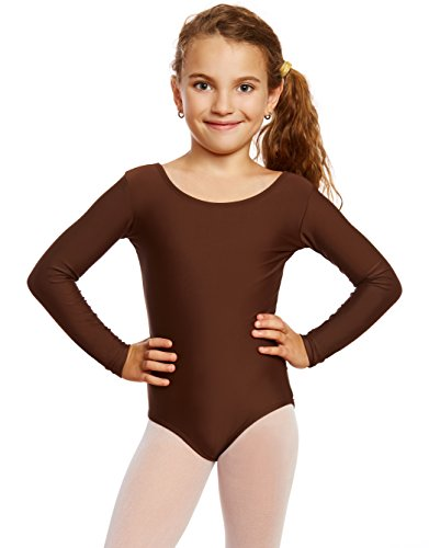 Leveret Girls Leotard Basic Long Sleeve Ballet Dance Brown Leotard Kids & Toddler Shirt Small (6-8) -