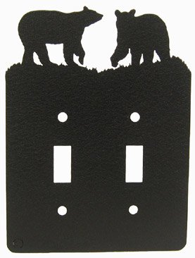Bear Double Light Switch Plate Cover