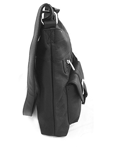 Black Leathers Purse Shoulder Organizer Leather With Pockets Front Cowhide Roma zRqpwSg