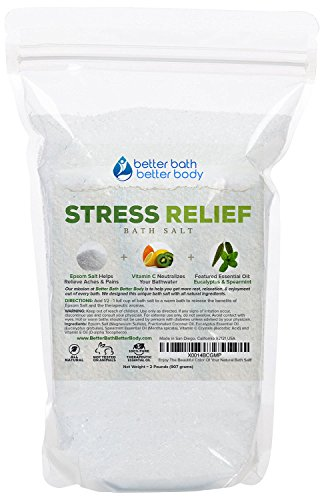 Stress Relief Bath Salt 32oz (2-Lbs) Epsom Salt With Eucalyptus & Spearmint Essential Oils & Vitamin C - Relieve Stress & Anxiety With This Bath Soak - All Natural No Perfumes No Dyes