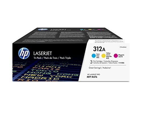 HP 312A (CF440AM) Cyan, Magenta & Yellow Original Toner Cartridges, 3 Cartridges (CF381A, CF382A, CF383A) by HP