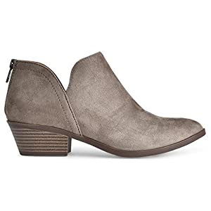 LUSTHAVE Women's Madeline Western Almond Round Toe Toe Slip On Bootie - Low Stack Heel - Zip Up - Casual Ankle Boot by Smokey Taupe Suede 7.5
