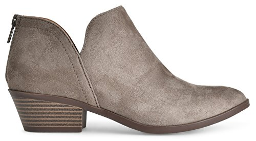 Women's Madeline Western Almond Round Toe Slip on Bootie - Low Stack Heel - Zip Up - Casual Ankle Boot Smokey Taupe Suede 8