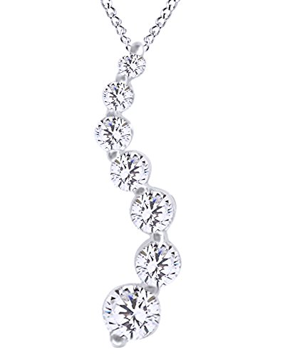 Diamond 1/2 Heart Necklace Ct (0.5Ct White Natural Diamond 7 Stone Journey Pendant In 14K Solid Gold)