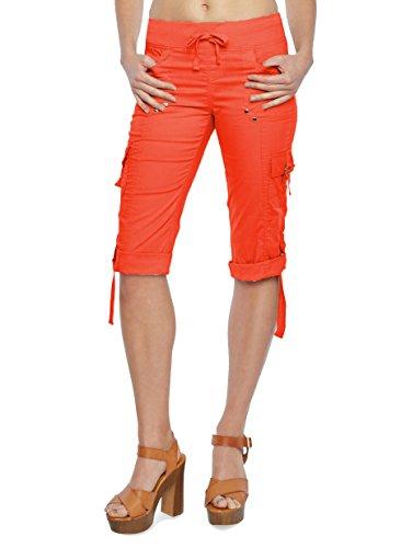 Leggings Capri Cargo ((27206R) Helium London Womens Stretch Poplin Cargo Capri With Drawstring Waist in Coral Size: 3X)