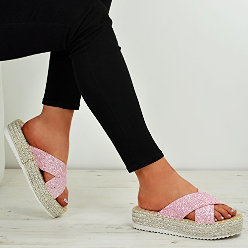 Ladies Shoes Fashion Pink Espadrille Heels Summer Size Womens Studded Flatforms High Cucu Sandals 5TvWqZwFqx