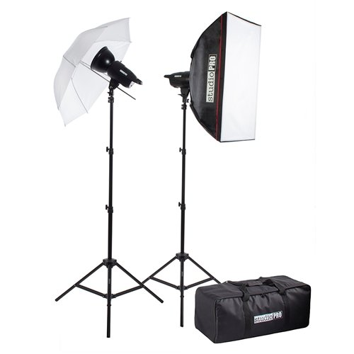 Fovitec StudioPRO 400W/s Two Strobe 20''x28'' Softbox 33'' Umbrella Kit & Carrying Case by Fovitec