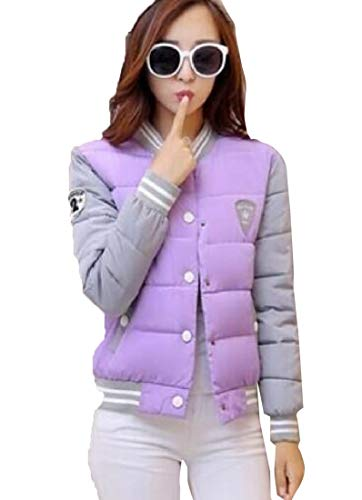 Down Purple Women's Coats Baseball Sleeve Long EKU Zipper Jacket UPnqawI
