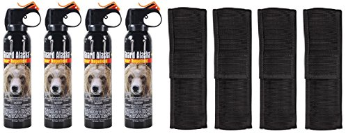 Guard Alaska (Pack of 4) 9 oz. Bear Spray Repellent Firemaster Canister & (Pack of 4) Pepper Enforcement Metal Belt Clip Holsters 1 BEAR SPRAY FOR ALL - Includes FOUR (4) Guard Alaska 9 oz. bear repellent spray canisters (We only ship canisters with industry maximum 4 year shelf life) & FOUR (4) Pepper Enforcement metal belt clip holsters TESTED & PROVEN - Guard Alaska was intensively tested for six years in the Alaska wild, and it is the only bear repellent registered with the EPA as a repellent effective against ALL bears LONG SPRAY RANGE - Fogger delivery system sprays 15-20 feet quickly engulfing attacking bear for maximum effectiveness - Releases full 9 ounces of protection in 9 seconds, or may be fired in bursts