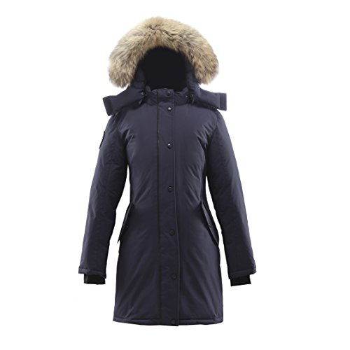 Triple F.A.T. Goose Alistair Womens Hooded Arctic Parka with Real Coyote Fur (X-Large, Navy) by Triple F.A.T. Goose