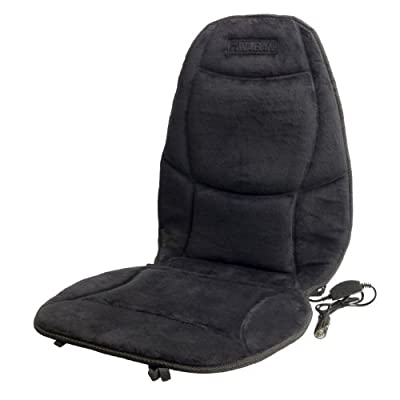 Wagan IN9438 12V Heated Seat Cushion with Lumbar Support (Black Velour)