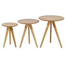 My Home My Living EC-01-1972 Oak Round Nesting Tables, Large, Medium and Small, Set of 3,Natural