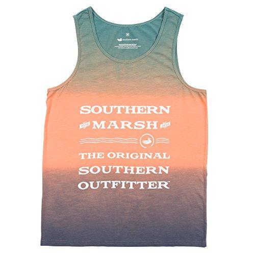 Southern Marsh Summer Sun Tank Top Tee, Coral/Slate, Small (Crsls)