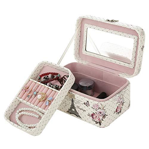 Faux Leather Pink Vintage Parisian Design Jewelry Organizer Box Mirror