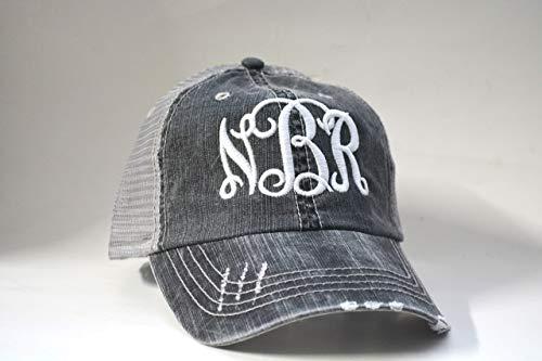 (Monogrammed distressed Women's Trucker Hat Personalized Vine Monogrammed Cap Black Gray Mesh Cap initials embroidered cap monogram gift)