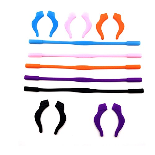 Pack of 5 Sets Anti-slip Elastic Silicone Kids Children's Eyewear Retainer Eyeglass Headband Sunglass Holder Strap Cord and Anti-slip Temple Tips Ear Hook with Clear Case (Color -