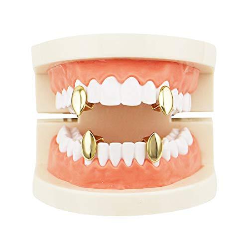 (STEVAP Men's Single Fangs Vampire Braces Upper and Lower Cusps Tooth Set 2 Pcs Single Top & 2 Pcs Single Bottom Grill Teeth Caps)