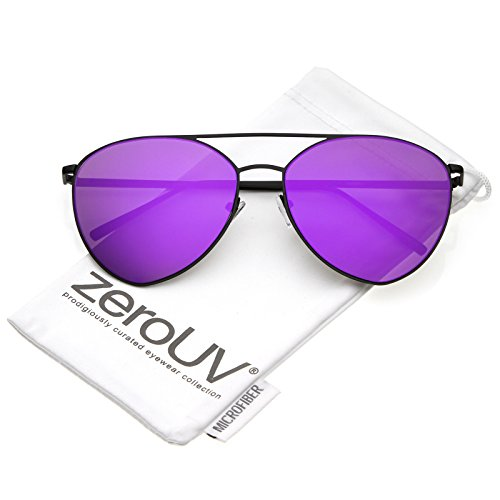 zeroUV - Oversize Thin Metal Double Crossbar Mirrored Flat Lens Aviator Sunglasses 62mm (Black / Purple - Colored Aviator Sunglasses Mirrored