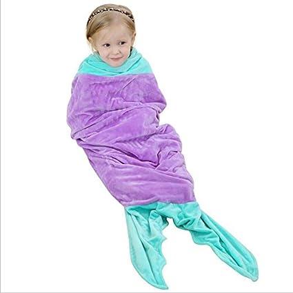 Saco de dormir Sirena Siamés para Niños Bata de Algodón Toalla de Baño Suave Batas de