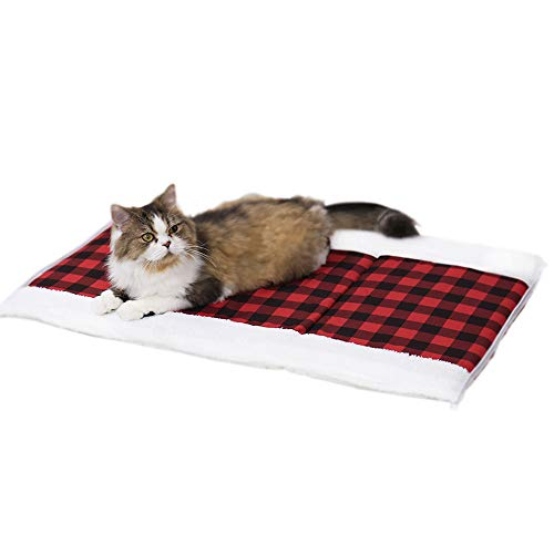 Speedy Pet 2-in-1 Puppy Cat Bed/Mat, Christmas Red Plaid Cat Tent Cave Bed Tunnel Fleece Kitten Self Warming Thermal Cushion Mat Snuggly Cat Hideaways