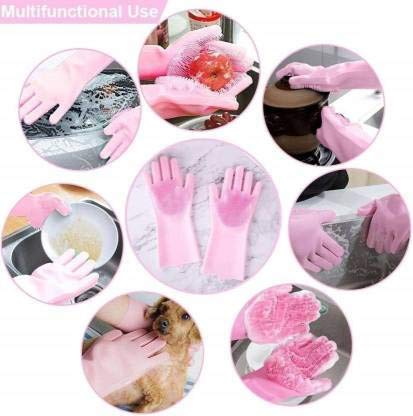 Gadget Walker Silicone Kitchen Magic Gloves for Dishwashing Rubber Dish Washing with Brush Cleaning Scrubber – 1 Pair (Multi color)