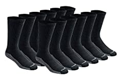 Dickies dri-tech comfort 6 pack crew with wicking, moisture management fibers keeps feet dry, ventilation channels engineered for air circulation and moisture control, arch compression hugs feet and keeps socks in place, while providing in-st...