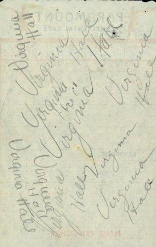Virginia Hall - Meal Ticket Multi Signed