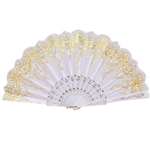 Staron Chinese/Spanish/Japanese Peacock Style Silk Lace Folding Hand Held Flower Fan for Prom Dance Wedding Party Church Gifts (White) -